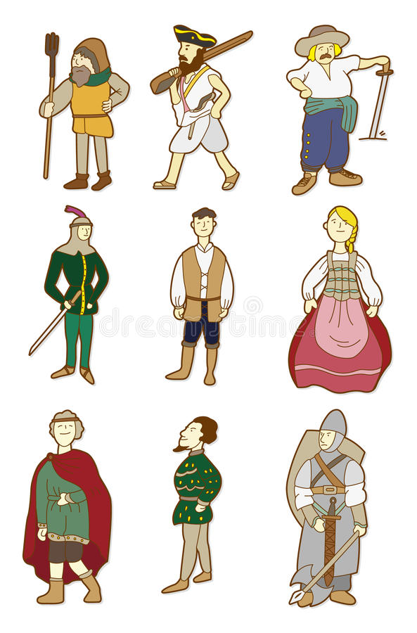 Cartoon Middle Ages people. Vector drawing stock illustration