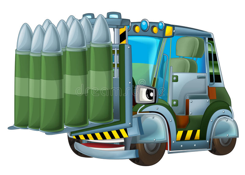 Cartoon military forklift with tank bullets isolated car. Beautiful and colorful illustration for the children - for different usage - for fairy tales stock illustration