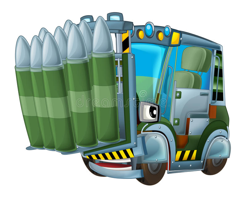 Cartoon military forklift with tank bullets isolated car. Beautiful and colorful illustration for the children - for different usage - for fairy tales vector illustration