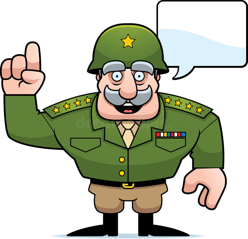 Free Cartoon Military General Talking Royalty Free Stock Images - 51421879