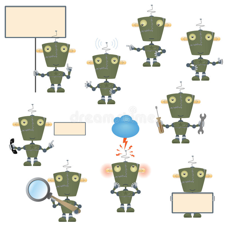 Download Cartoon military robot set stock vector. Illustration of magnifying - 26363585