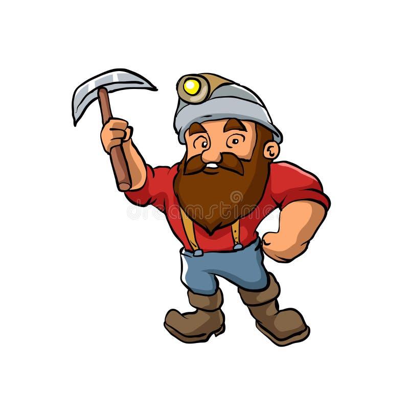 Cartoon Miner with pickaxe stock illustration