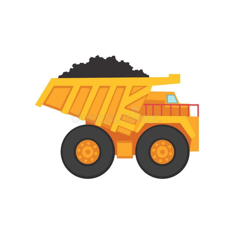 Cartoon mining dump truck for coal transportation. Yellow cartoon dump truck for coal transportation. Mining and quarrying industry. Heavy-load car. Lorry for vector illustration