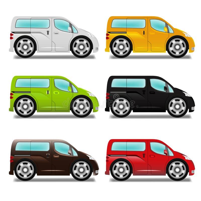 Cartoon minivan with big wheels. Cartoon minivan with big wheels, six different colors vector illustration