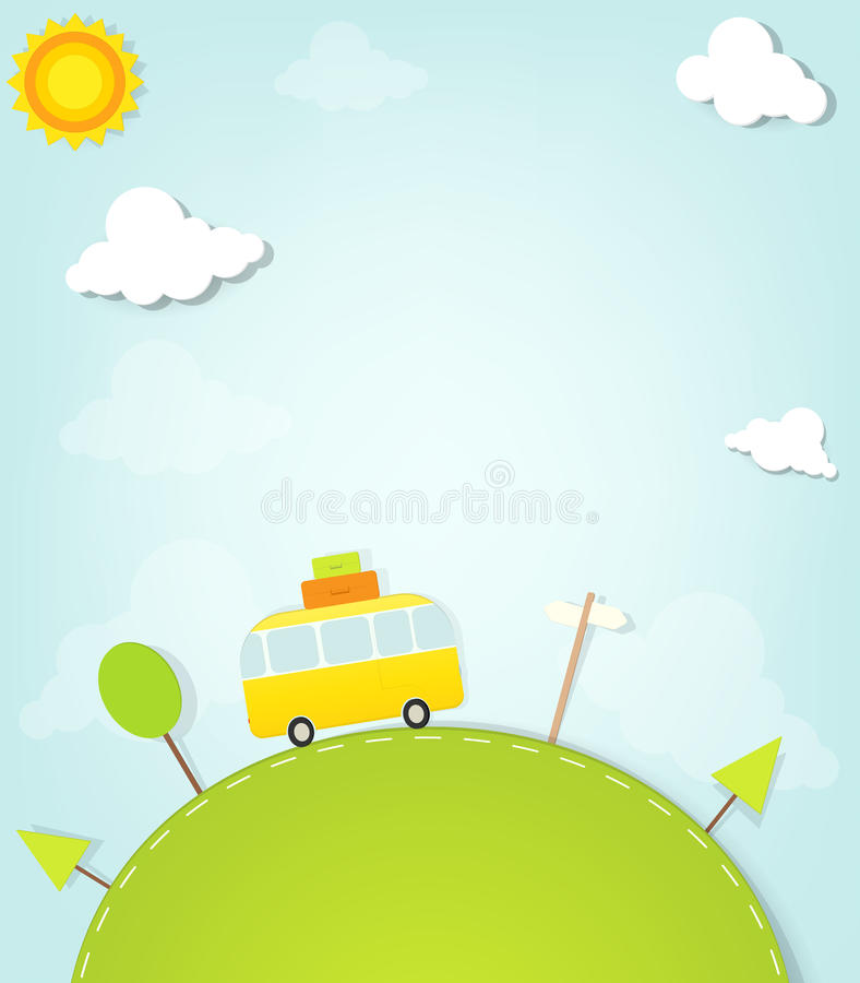 Cartoon minivan on the hill. This is file of EPS10 format vector illustration