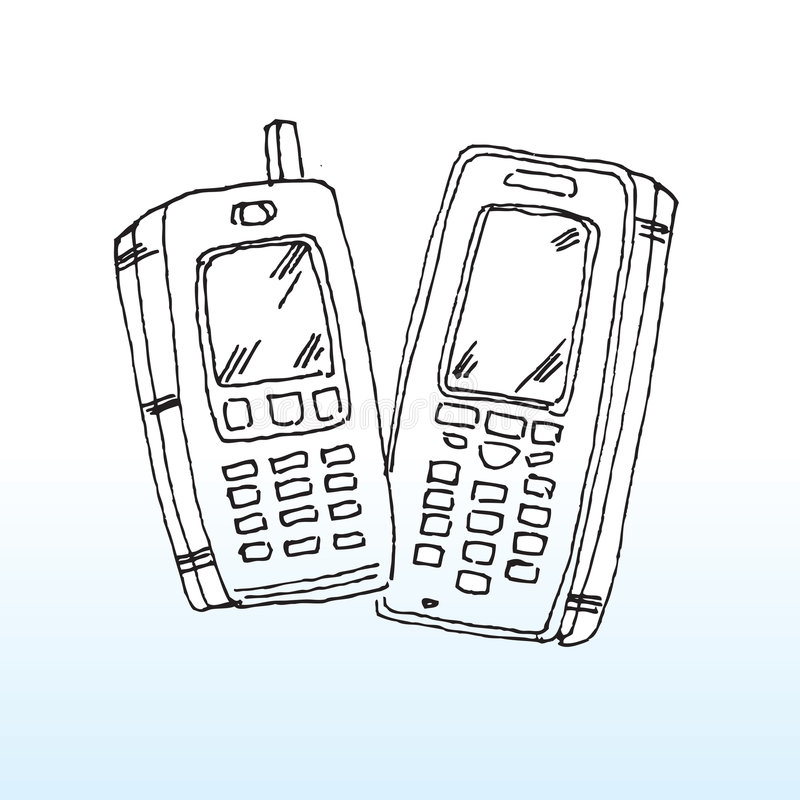 Download Cartoon mobile telephones stock vector. Illustration of line - 6289305