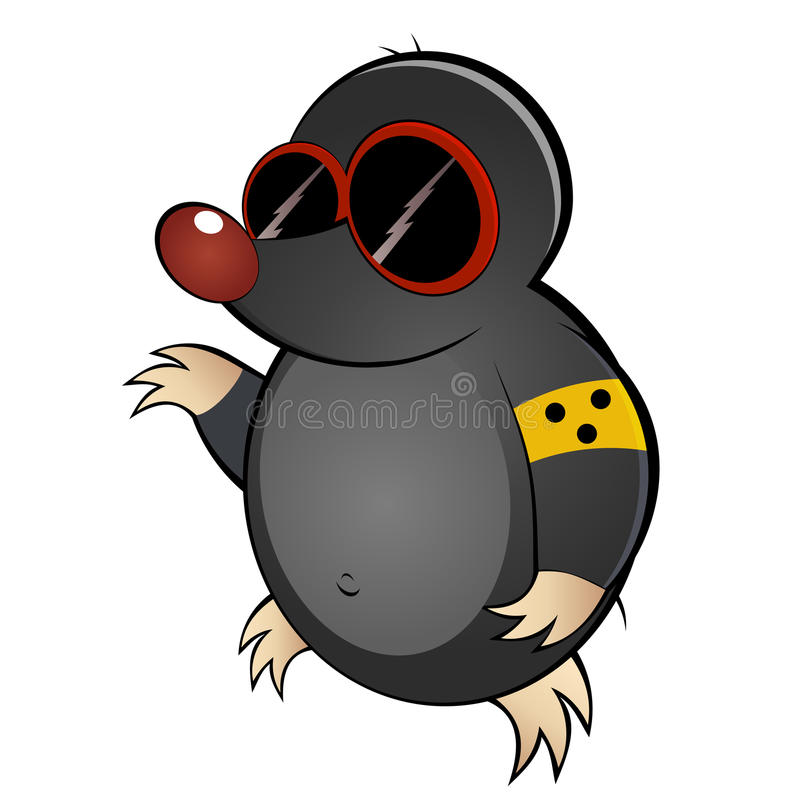 Cartoon mole with dark glasses royalty free illustration