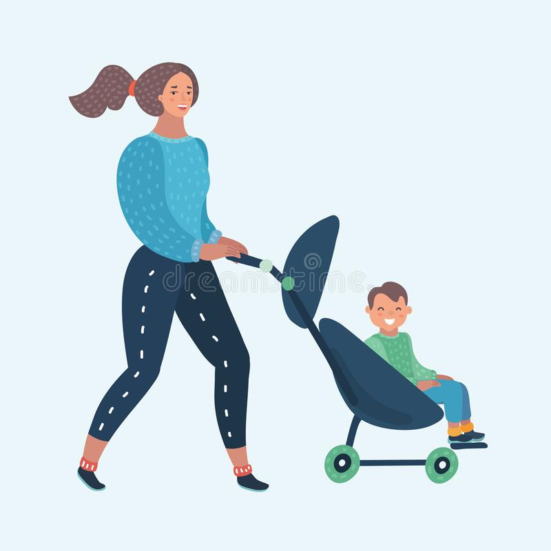 Cartoon mom and toddler in pram. Vector cartoon illustration of mom and toddler in pram on a walk . Baby sitting carriage. Mother walking with baby in stroller vector illustration