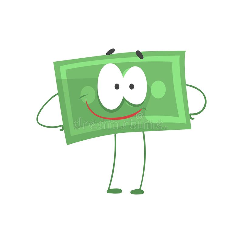 Cartoon money character standing with arms akimbo and smiling face. Self-confident green dollar in flat style. Financial stock illustration