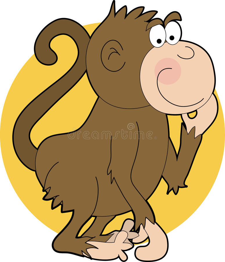 Cartoon Monkey. Ape, Monkey, Animal, Orange, Circle, Scratch, Scratching, Chimpanzee, Tail, Animal Head, Smiling royalty free illustration
