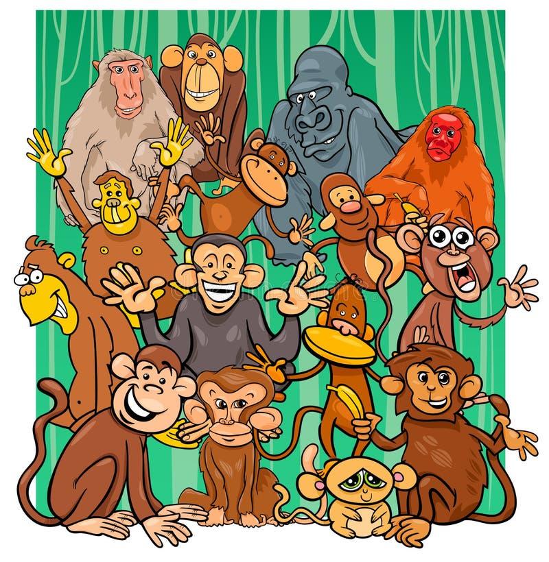 Cartoon monkey characters group иллюстрация вектора