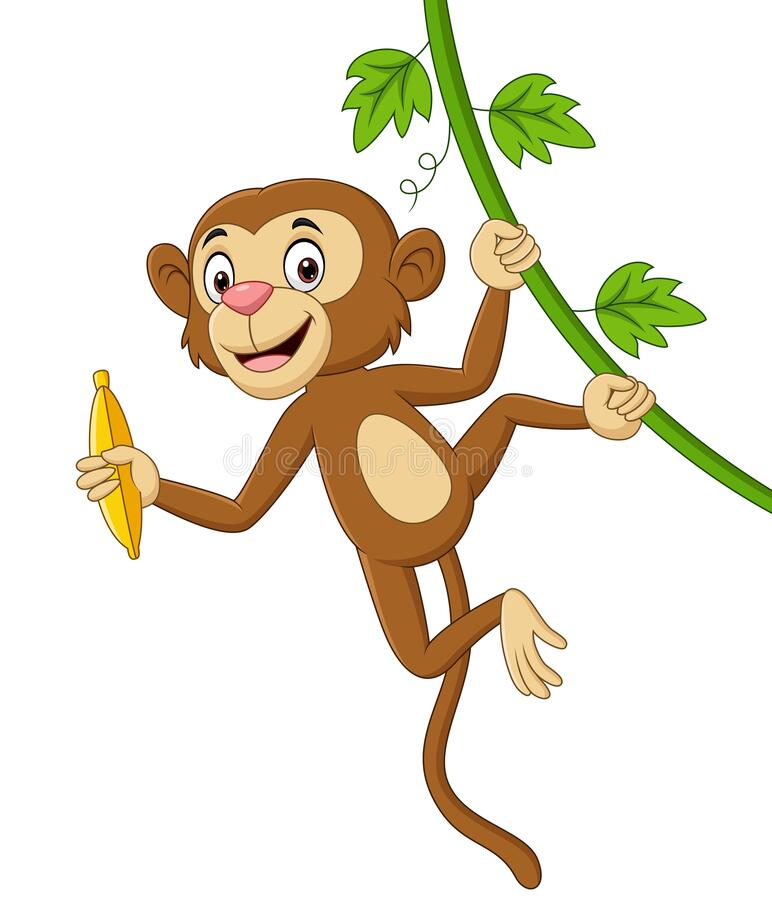 Free Cartoon Monkey Hanging And Holds Banana In Tree Branch Royalty Free Stock Photography - 181581047