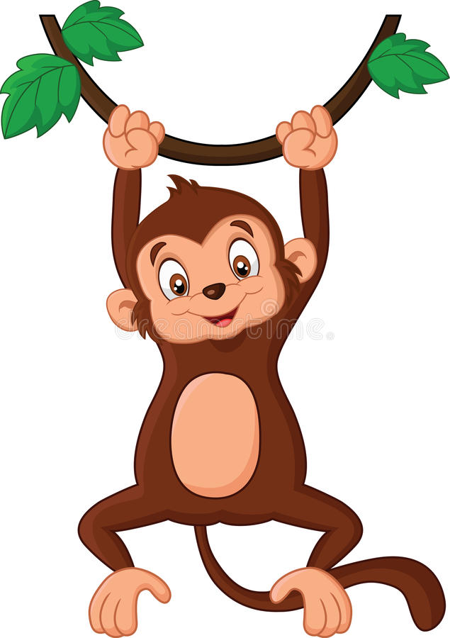 Cartoon Monkey Hanging In Tree Stock Vector - Illustration ...