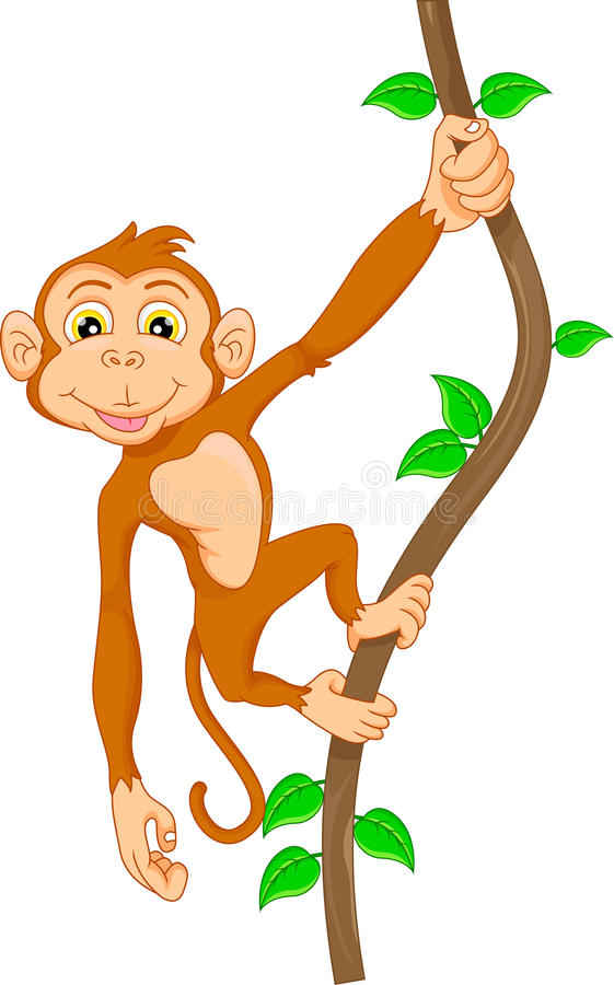 how to draw a cartoon monkey hanging from a tree