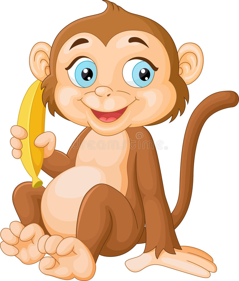 Cartoon monkey holding banana royalty free illustration