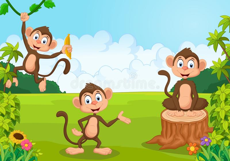 Cartoon monkey playing in the forest stock illustration