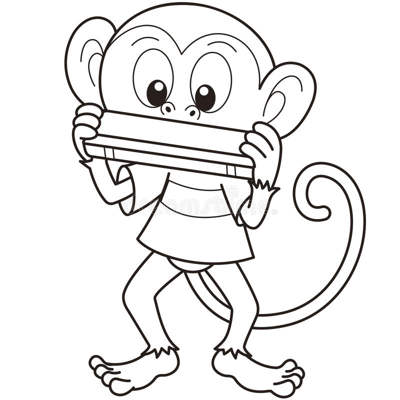 Download Cartoon Monkey Playing A Harmonica Stock Vector