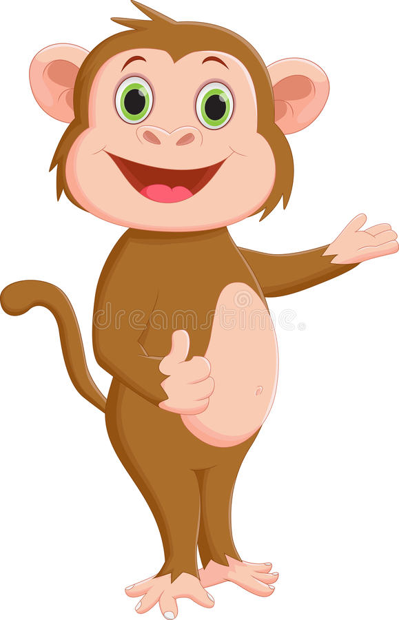 Cartoon monkey presenting and give thumb up stock illustration