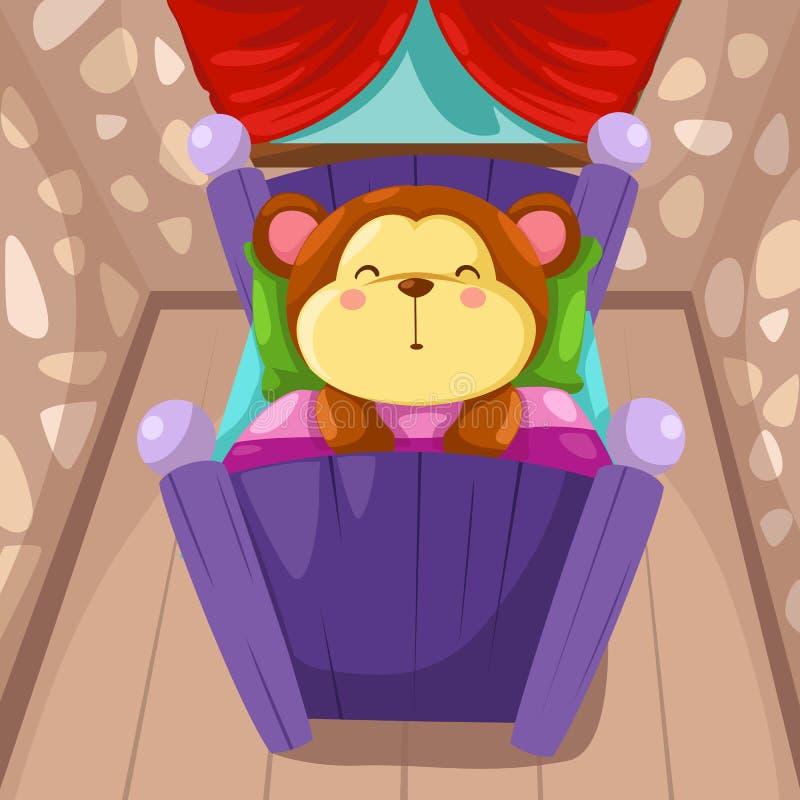 Download Cartoon monkey sleeping stock vector. Illustration of cute - 25672835