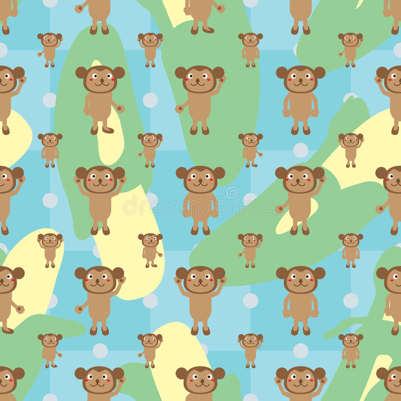 Cartoon monkey symmetry banana seamless pattern. This illustration is drawing monkey cartoon symmetry with big banana on blue color background seamless pattern stock illustration