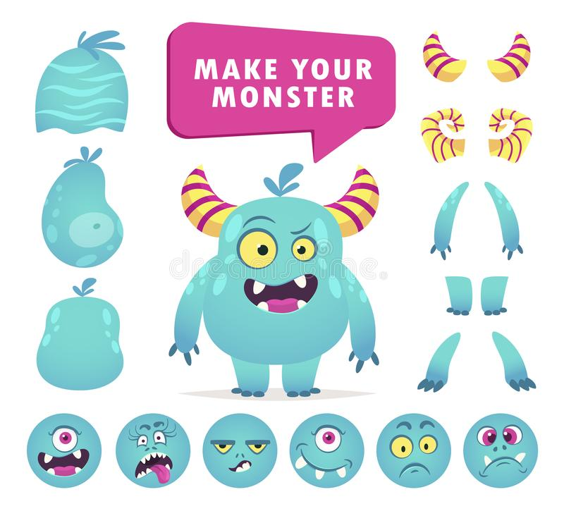 Cartoon monster creation kit, cute face set. Funny create constructor. Vector flat style cartoon illustration isolated on white background vector illustration