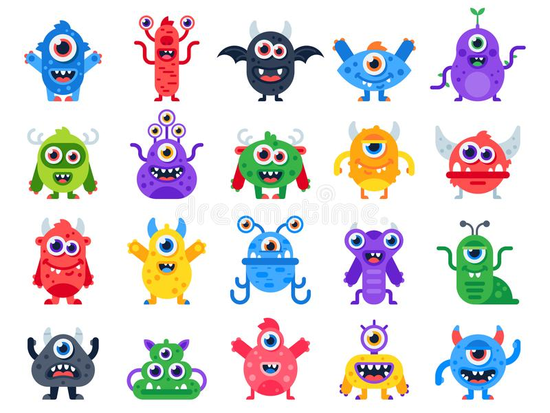 Cartoon monster. Cute happy monsters, halloween mascots and funny mutant toys. Scary creatures vector flat icon set vector illustration