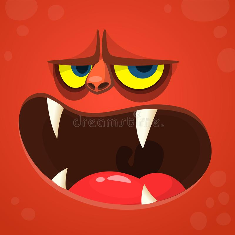 Cartoon monster devil face. Vector Halloween red monster avatar with open mouth with sharp teeth. stock illustration