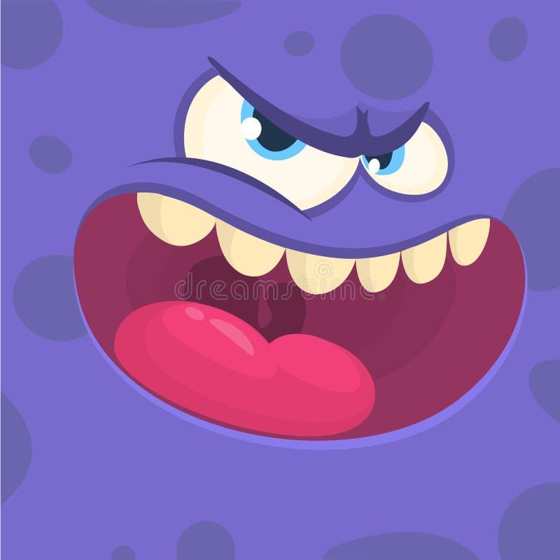 Cartoon monster face square avatar. vector illustration