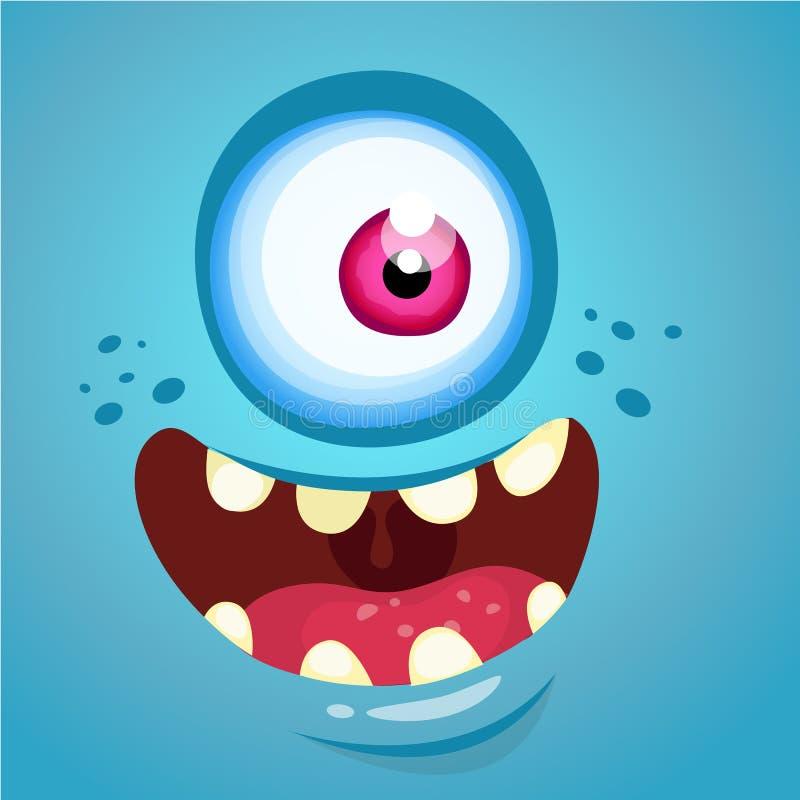 Cartoon monster face. Vector Halloween blue monster with one eye. vector illustration