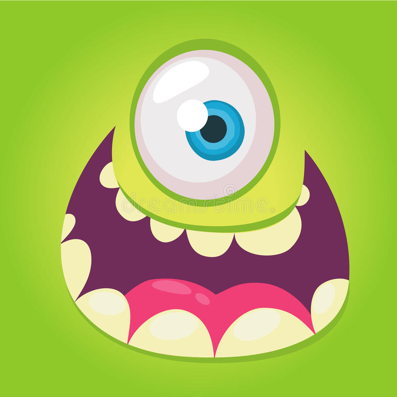 Cartoon monster face. Vector Halloween green cool monster avatar with wide smile. Big set of monster faces. stock illustration