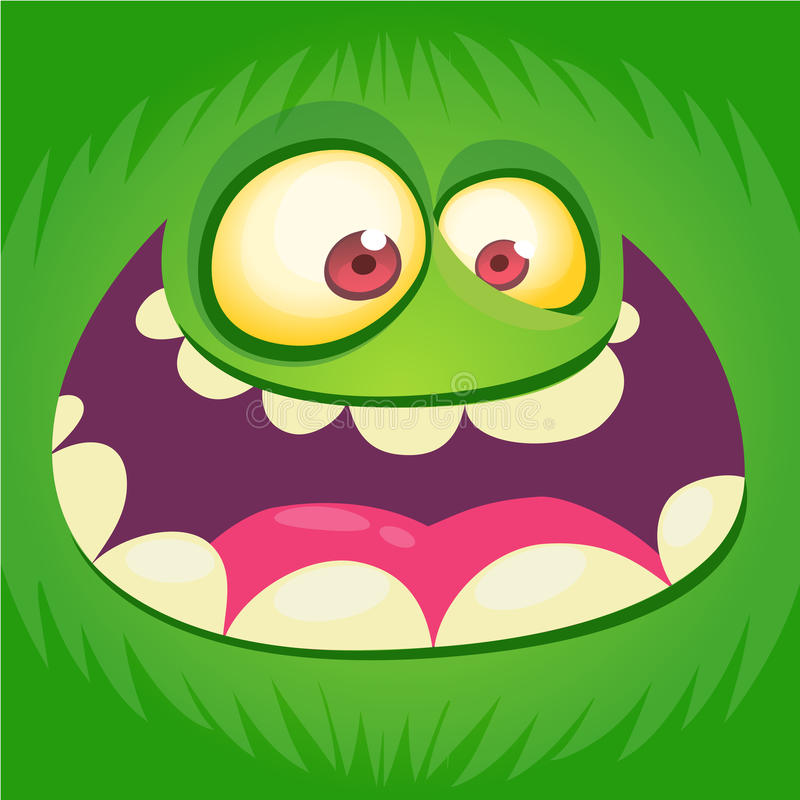 Cartoon monster face . Vector Halloween green happy monster square avatar. Funny monster mask. Cartoon monster face . Vector Halloween green happy monster royalty free illustration