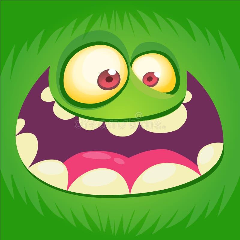 Cartoon monster face . Vector Halloween green happy monster square avatar. Funny monster mask. royalty free illustration