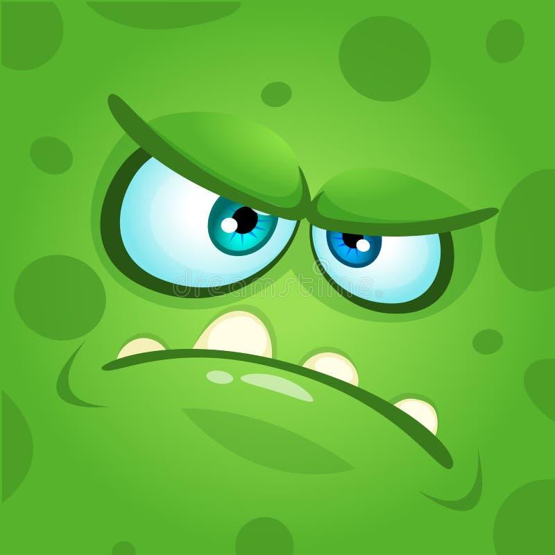 Cartoon monster face. Vector Halloween green mad angry monster. Cartoon monster face. Vector Halloween green mad angry monster vector illustration