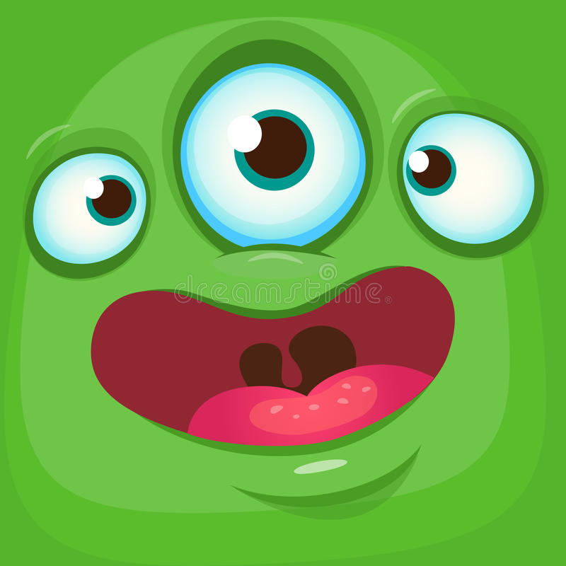 Cartoon monster face. Vector Halloween green monster avatar with three eyes smile. royalty free stock images