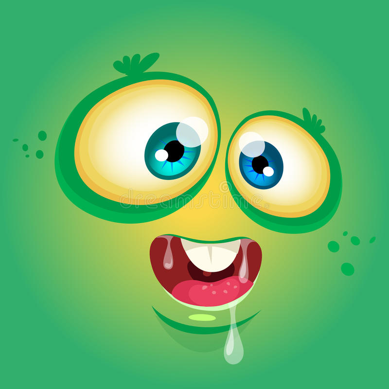 Cartoon monster face. Vector Halloween green monster avatar with wide smile. Cartoon monster face. Vector Halloween green monster avatar with wide smile stock illustration