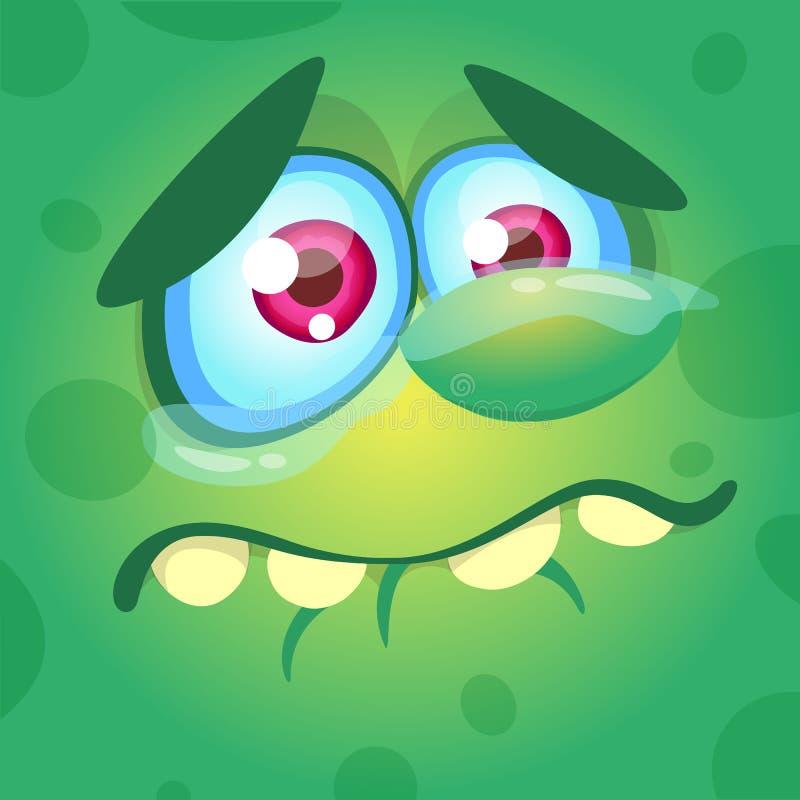 Cartoon monster face. Vector Halloween green sad monster crying. stock illustration