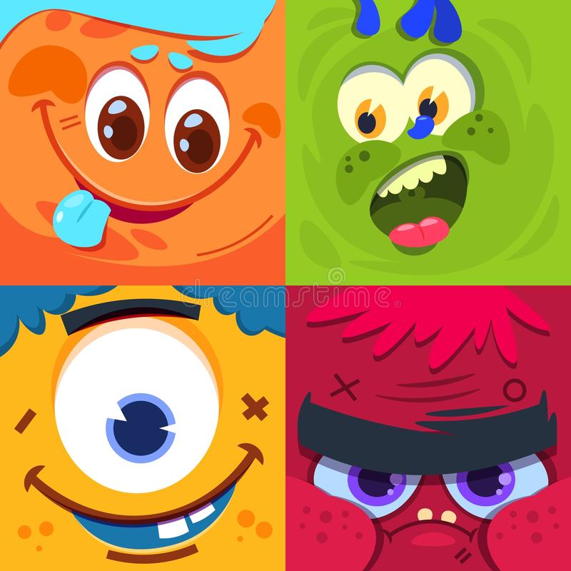 Cartoon monster faces. Scary carnival alien monsters masks. Vector characters set vector illustration