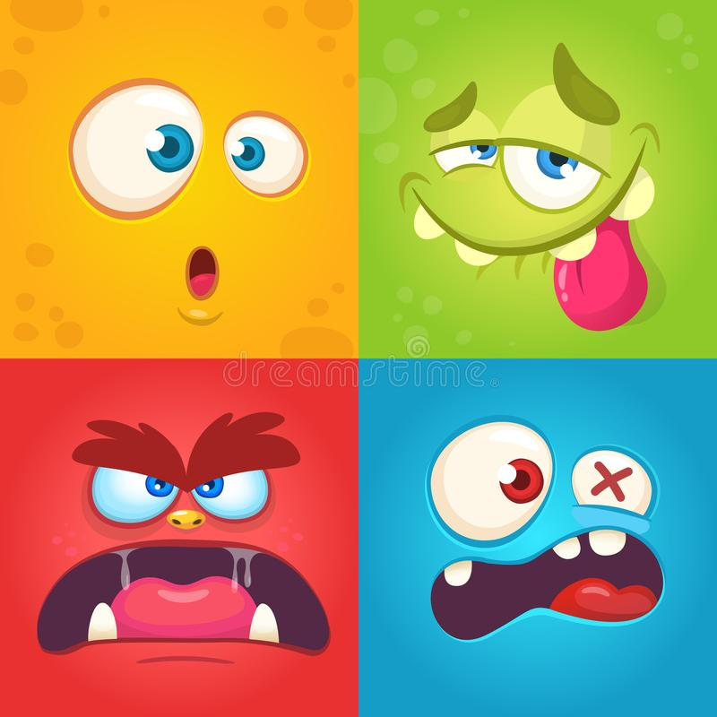 Cartoon monster faces set. Vector set of four Halloween monster faces with different expressions. Children book illustrations stock images