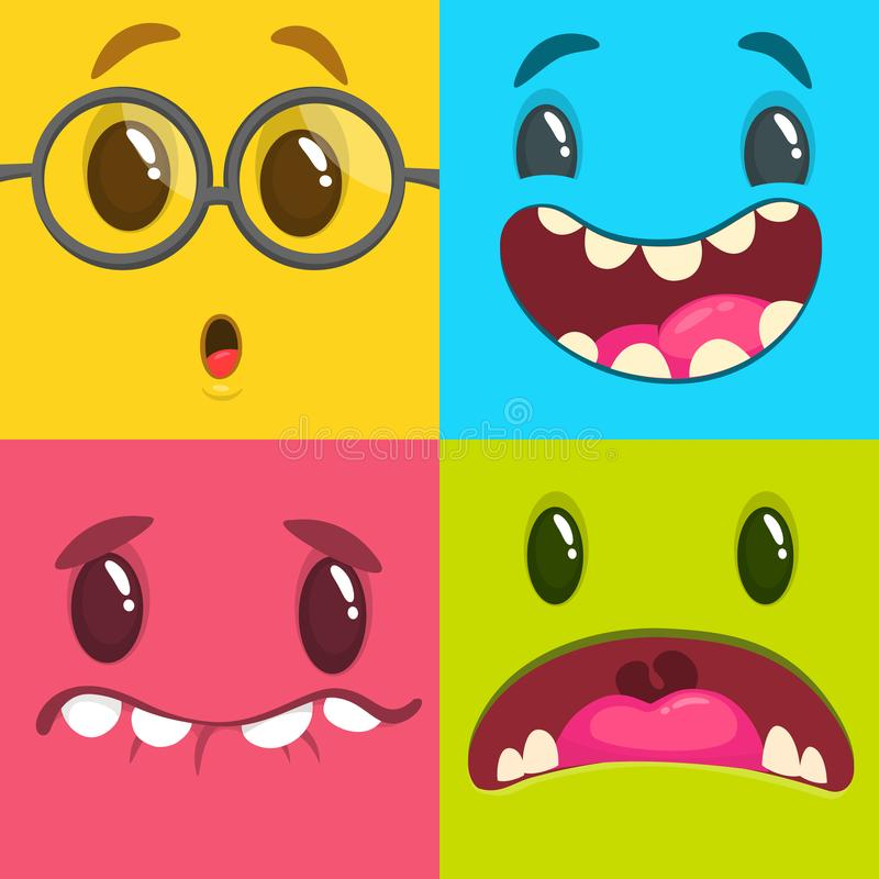 Cartoon monster faces set. Vector set of four Halloween monster faces. Package design or party decoration vector illustration