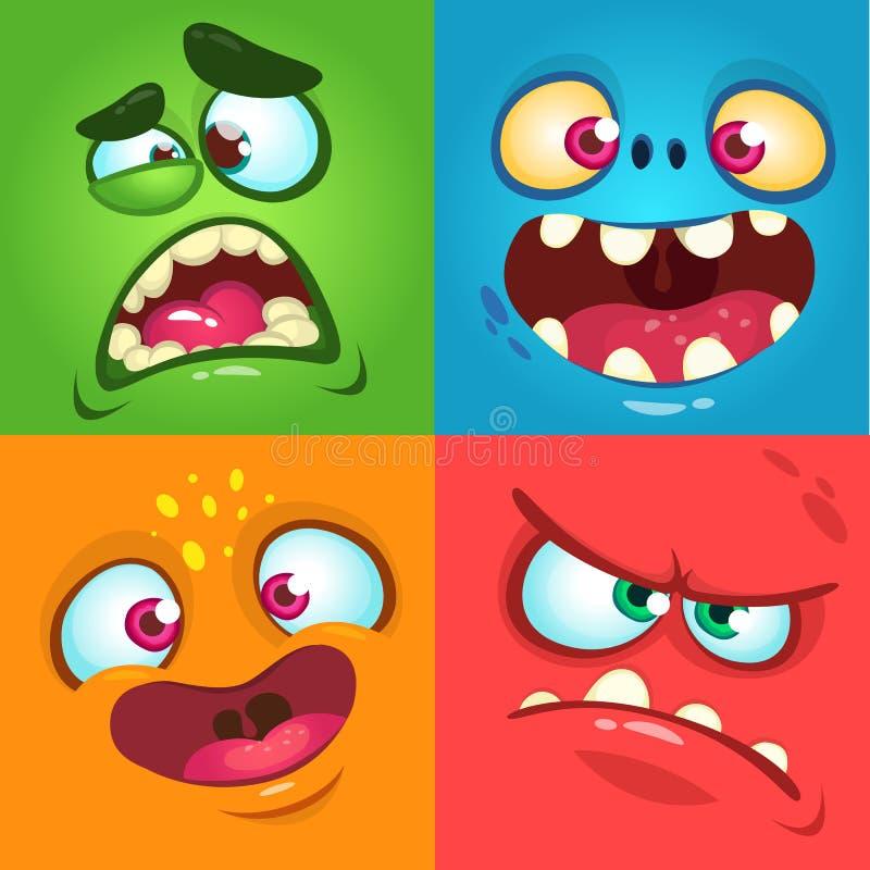 Cartoon monster faces set. Vector set of four Halloween monster faces. stock illustration