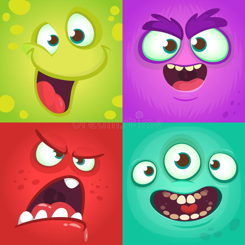 Cartoon monster faces set. Vector set of four Halloween monster faces with different expressions. Children book illustrations vector illustration