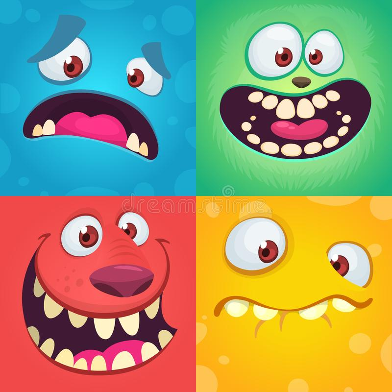 Cartoon monster faces set. Vector set of four Halloween monster faces with different expressions. Children book illustrations royalty free illustration