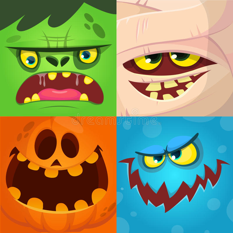 Cartoon monster faces vector set. Cute square avatars and icons. Monster, pumpkin face, mummy, zombie. Cartoon monster faces vector set. Cute square avatars and stock illustration