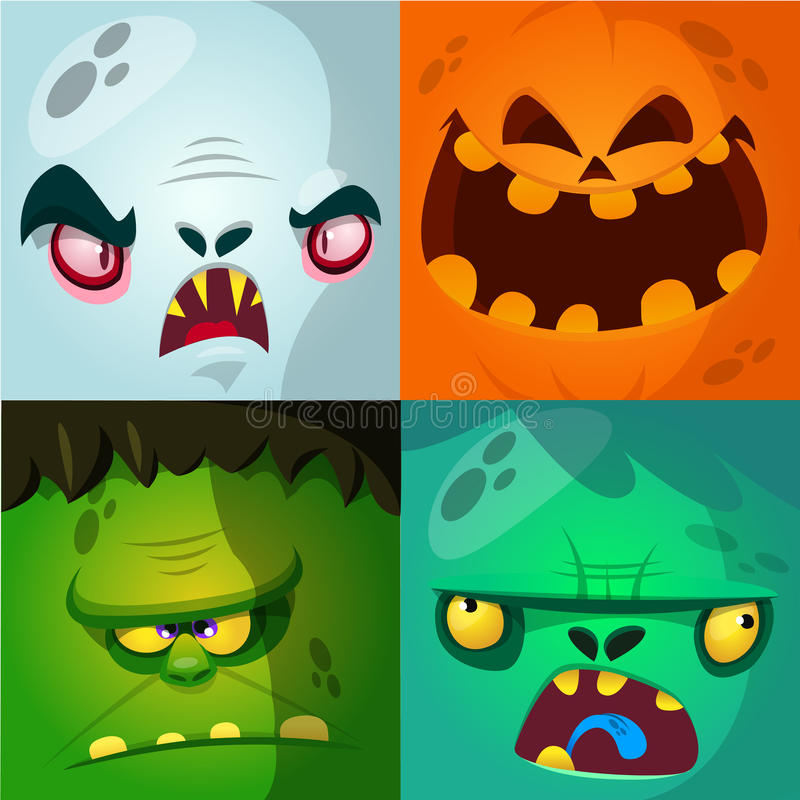 Cartoon monster faces vector set. Cute square avatars and icons. Monster, pumpkin face, vampire, zombie. vector illustration