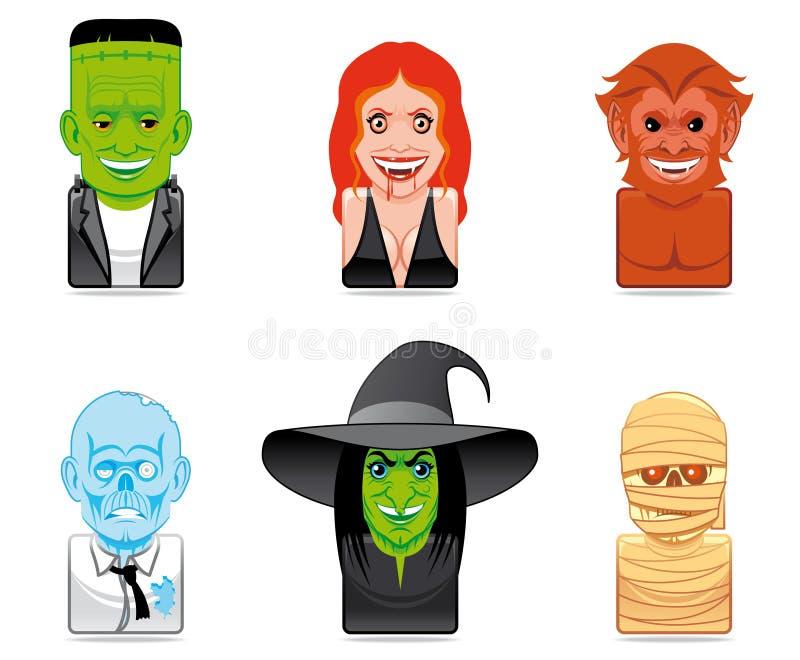 Cartoon monster icons. Set of cartoon monster icons stock illustration