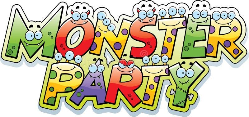 Cartoon Monster Party Text vector illustration