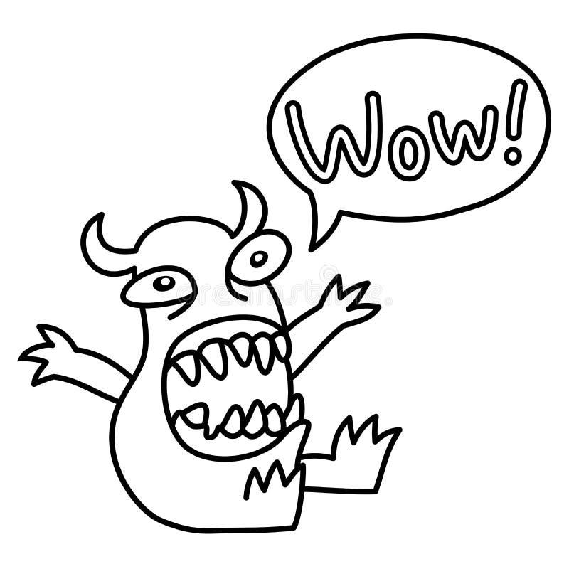 Cartoon monster screaming Wow. Speech bubble. Vector illustration. royalty free illustration