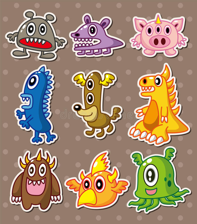 Download Cartoon monster stickers stock vector. Image of child - 24295154