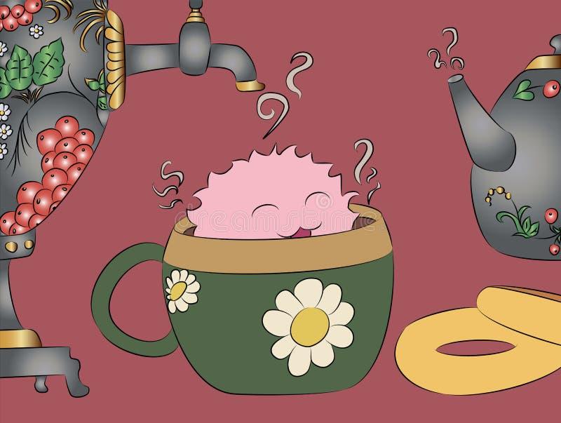 Cartoon monster tea cup samovar khokhloma teapot. Cartoon monster drying tea cup samovar khokhloma teapot vector illustration