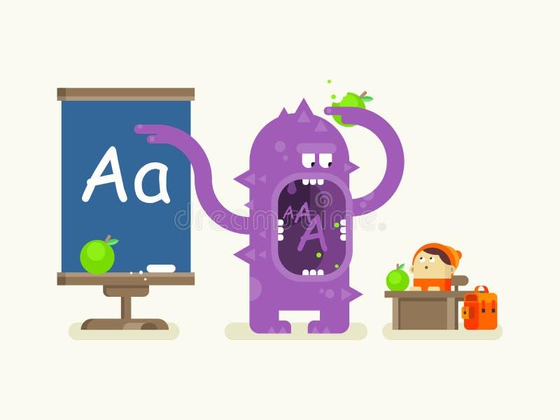 Cartoon monster teaches alphabet royalty free illustration